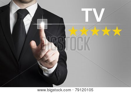 Businessman Pushing Button Tv Five Rating Stars