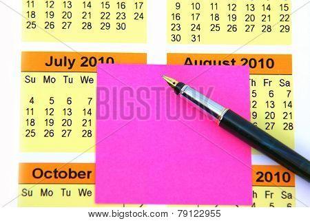 Pink Post It On Calendar