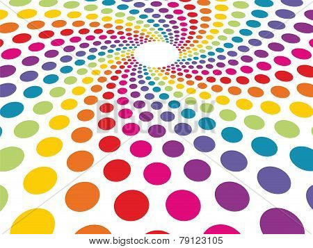 Circular Background Composed Of Colorful Dots In Perspective