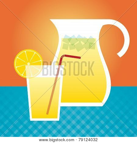 Lemonade In A Glass And Pitcher