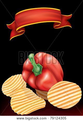 Potato Chips And Bell Pepper