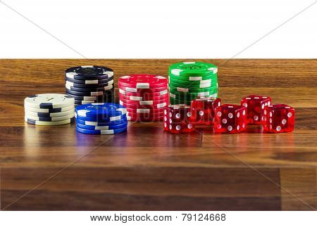 Chips And Dice On A Table