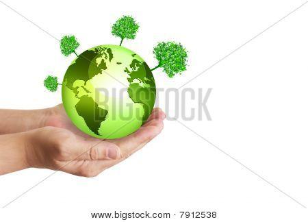Hands holding globe. Environmental energy concept.