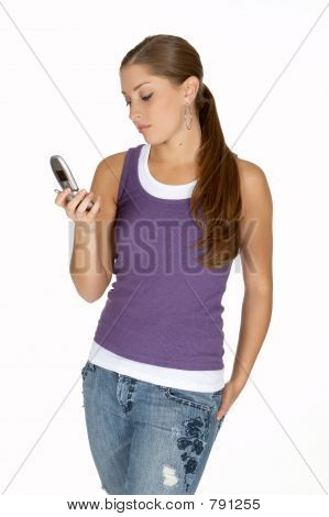 Young Woman in Purple Tank Top Looking at Cell Phone