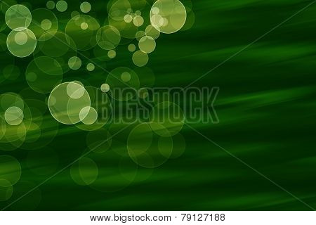 Colorful Bubbles On Green Abstract Background