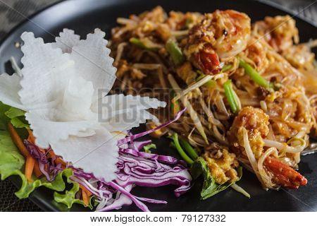 Stir- fried rice noodle with shrimps, Pad Thai