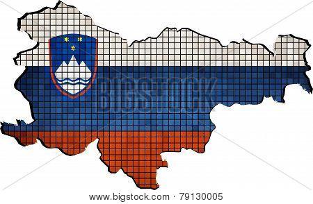 Slovenia map with flag inside