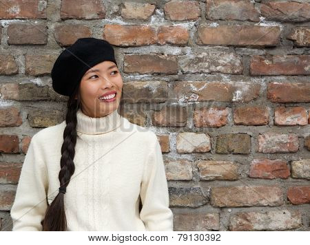 Attractive Young Woman Smiling With Beret Hat