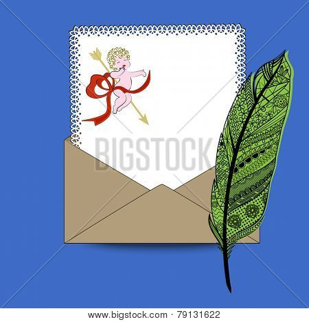 Love letter fancy feather pen, paper, envelope