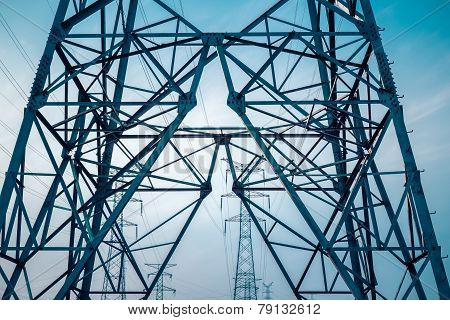 Electricity Transmission Pylon Silhouetted