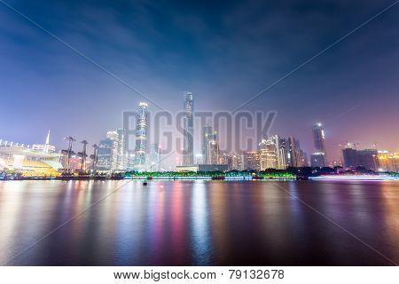 Guangzhou Zhujiang New Town Skyline At Night