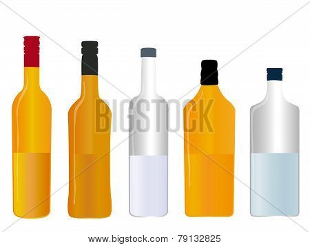 Different Kinds Of Spirits Half Full Bottles