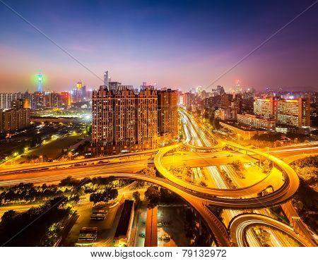 Brilliant City Interchange At Night