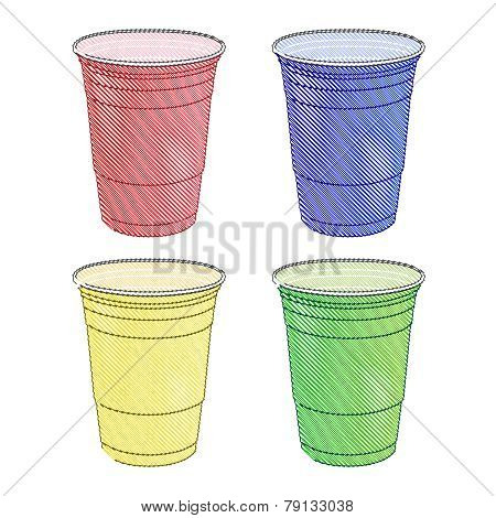 Party Cups In Different Colours Pencil Style