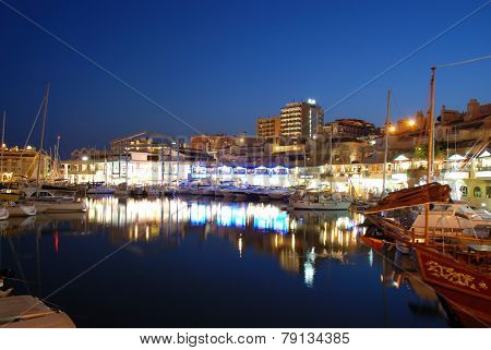Benalmadena marina at night.