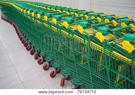 green shopping carts in a row