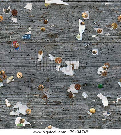 seamless wood bulletin board, notes shreds texture