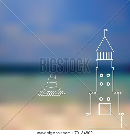 Lighthouse, Sailboat, Island, Ocean On Seascape Background. Vector
