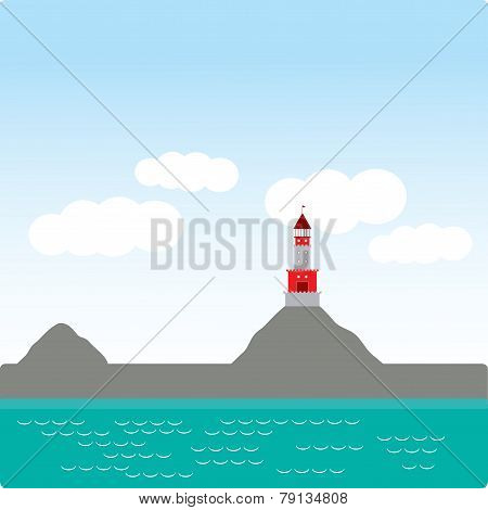 Lighthouse, Island, Ocean, Beach, Sea, Nautical. Vector