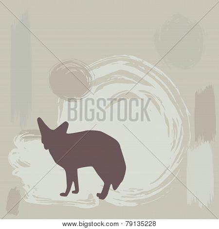 Fennec Fox Silhouette On Grunge Background. Vector
