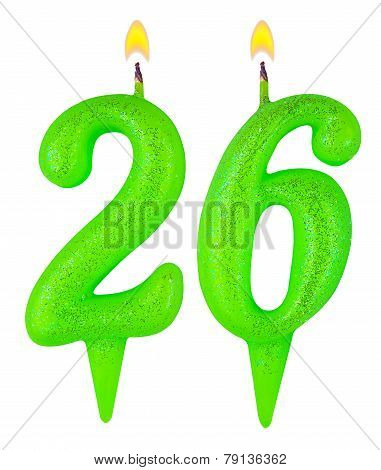 Birthday Candles Number Twenty Six Isolated