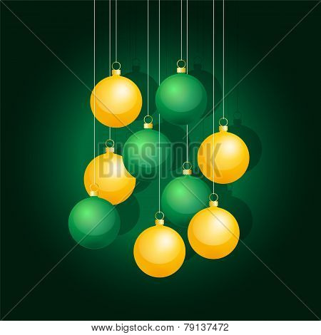 Yellow And Green Christmas Balls On A String
