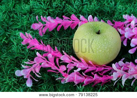 Green Apple On Artificial Turf