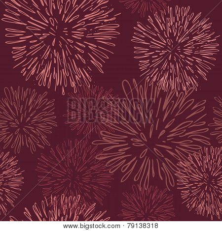 Seamless pattern with fireworks