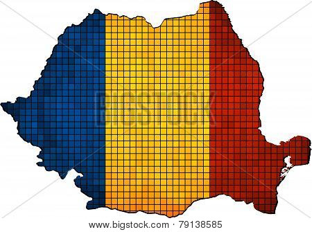 Romania map with flag inside