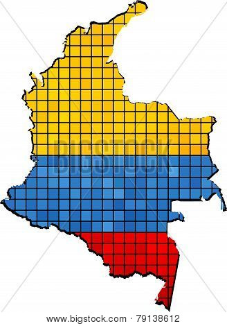 Colombia map with flag inside