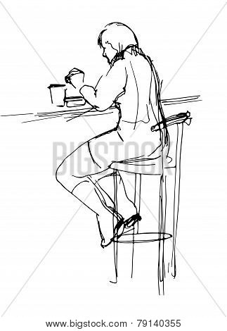 Woman At The Lunch In Cafe