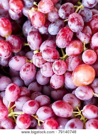 Close Up Of Red Grape Fruits In Market.