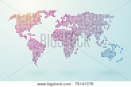 Map Of World Composed Of Small Colored Squares