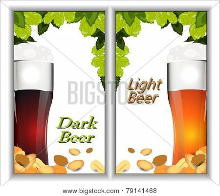 Banners With Beer, Sprigs Of Hops And Salted Peanuts