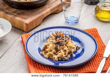 Traditional italian pasta with ragu