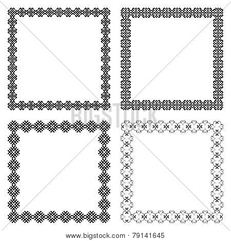 Set of four ethnic square frames with the most popular borders