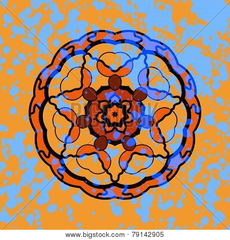 Vector illustration of round mandala ornament with watercolor splash over orange background. Chakra