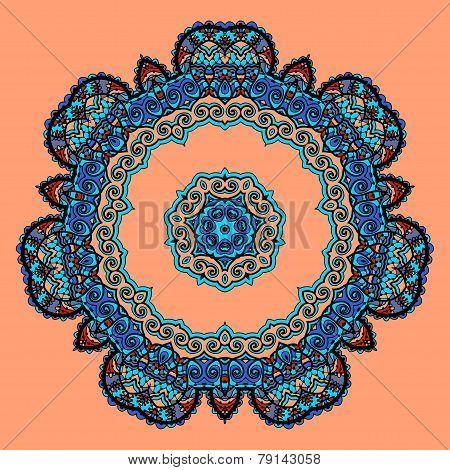 Round Mandala. Flower like Ornament Pattern. Vintage decorative elements. Hand drawn wallpaper. Isla