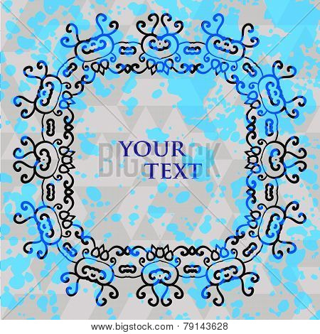 Stylized tribal ornament square frame for text with splashes of blue azure paint on background