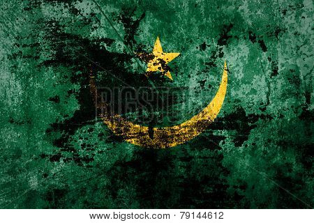 Grunge Mauritania Flag on dirty paper