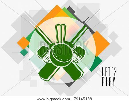 Stylish sticker or label design with cricket bats, ball, wicket stumps and helmet on abstract background.