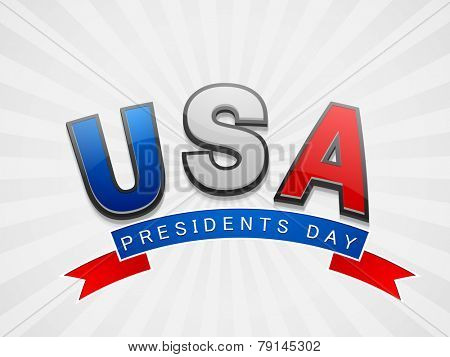 Glossy text United State American with ribbon for Presidents Day celebration on shiny background.