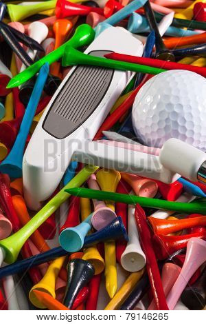 Various Wooden Golf Tees And Golf Equipments