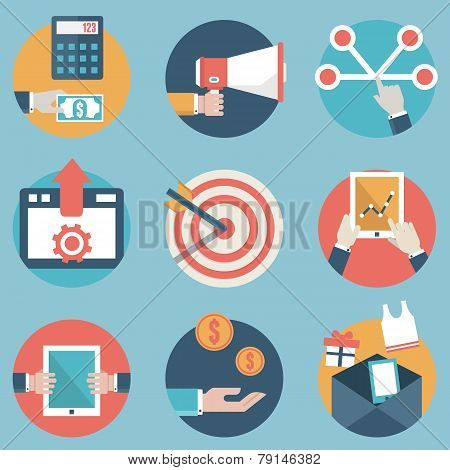 Flat Set Of Modern Vector Icons And Symbols On Business Management Or Analytics And E-commerce Theme