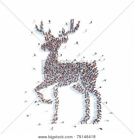 People in the form of a deer.