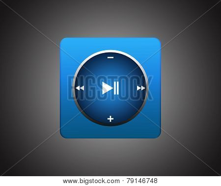 Blue Square Player On Dark Background