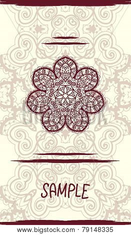 Vertical wedding Card with ornate mandala floral pattern. Vintage decorative element. Hand drawn bac
