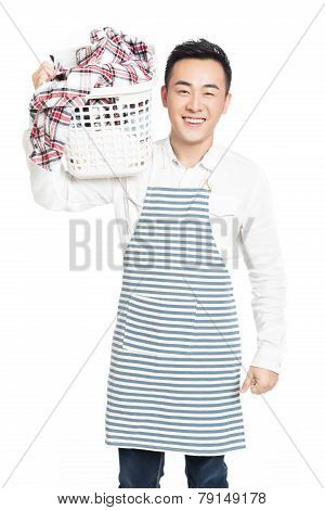 Male Holding A Laundry Basket