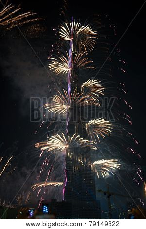 New Year Celebrations Fireworks At Burj Khalifa In Dubai