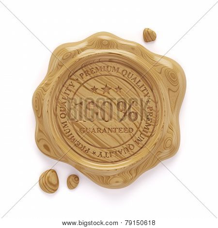 Wood Wax Seal 100 Percent Premium Quality Stamp Isolated On White Background
